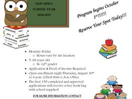 Registration Now Open:  After-School Program
