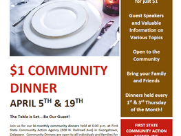 April Community Dinners at First State