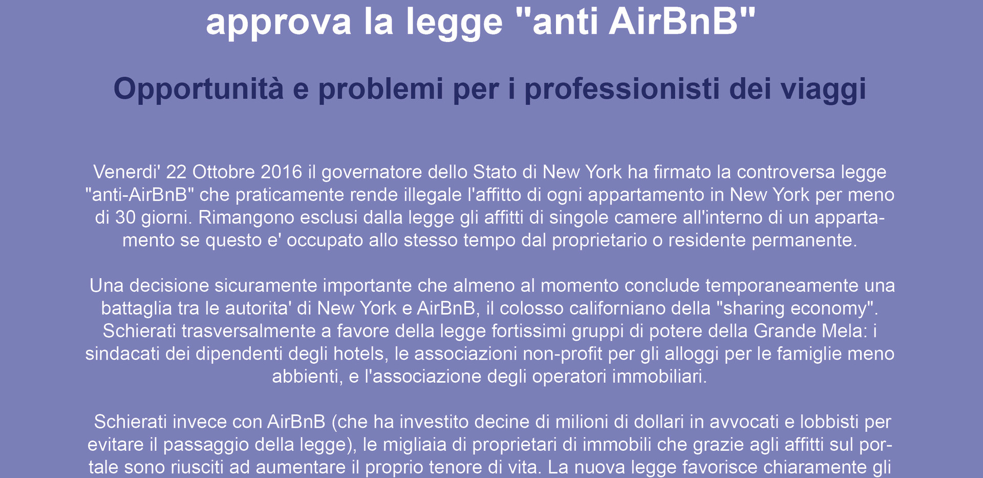 New York approva la legge anti AirBnB.jp