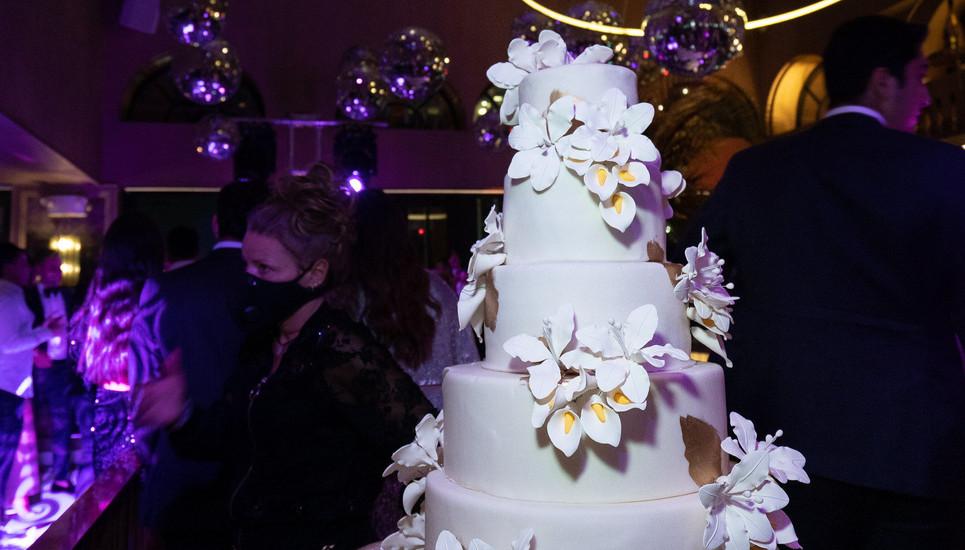 White Orchid Wedding Cake