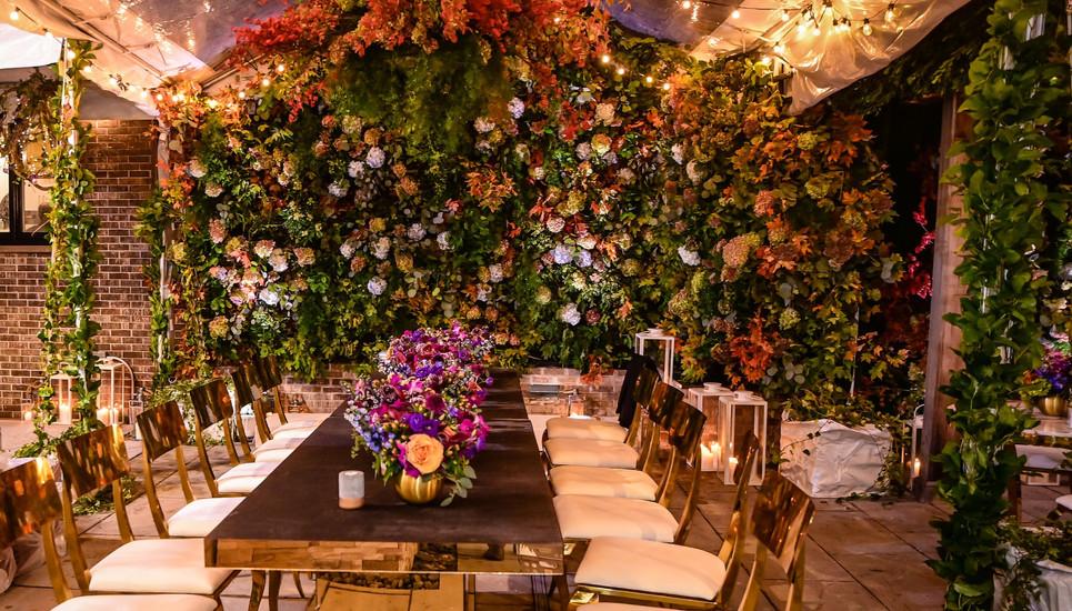 Fall Themed Flower Wall