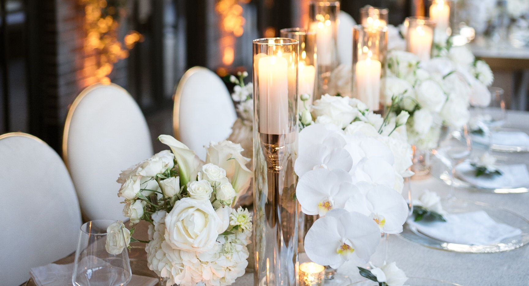 White Wedding Table Decor