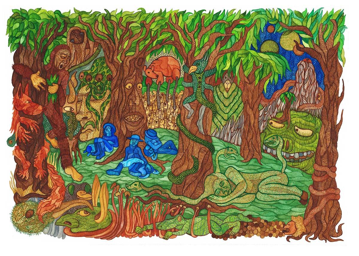 Sleeping Explorers Watercolour Painting