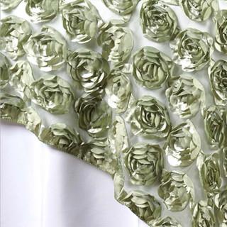 "72"" 3D Rosette on Lace Overlay Reseda Green"