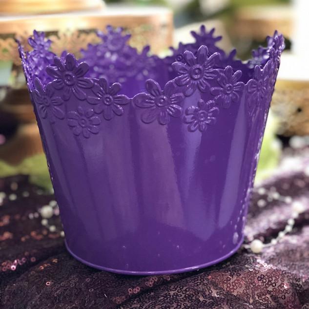 Vase - Metal Daisy Purple