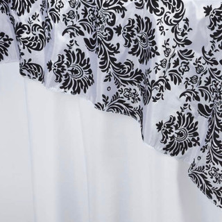 "72"" Damask Taffeta Overlay Flocking White"