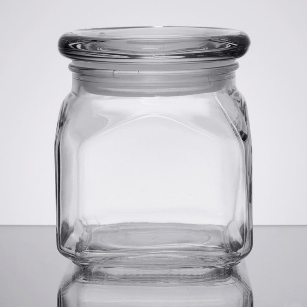 Square Clear Glass Candy Jar with Lid
