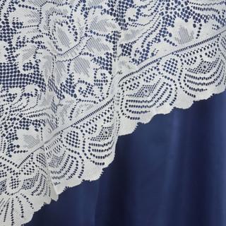 "72"" Flower Design Lace Overlay Ivory"