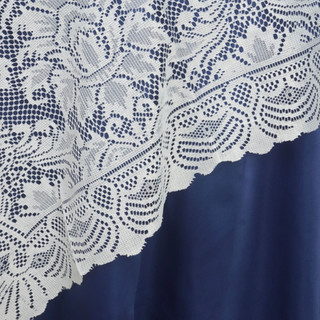 "72"" Flower Design Lace Overlay Ivory"