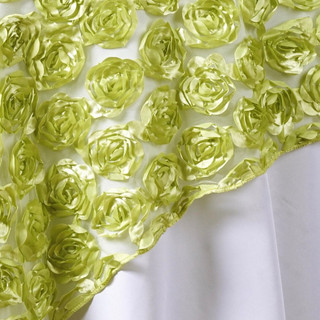 "72"" 3D Rosette on Lace Overlay Tea Green"