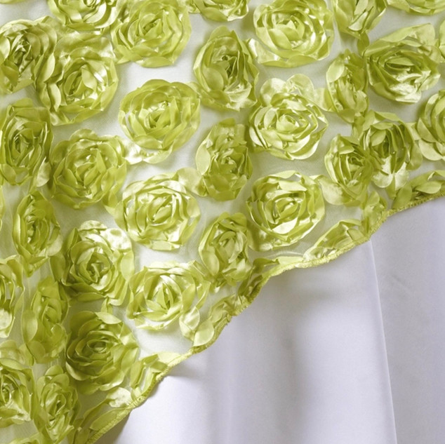 "72"" 3D Rosette on Lace Overlay Tea Green"