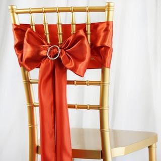 Satin Chair Sash Burnt Orange