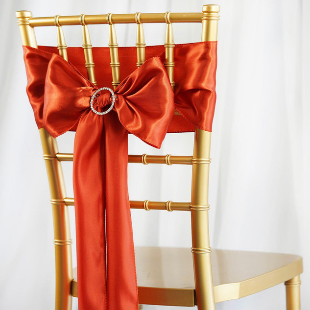 Satin Chair Sash Burnt Orange