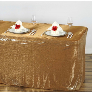 Glitzy Sequin Table Skirt  Gold 17'