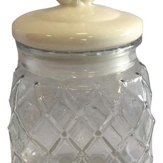 Clear Weave Glass Candy Jar with Fleur de Lis