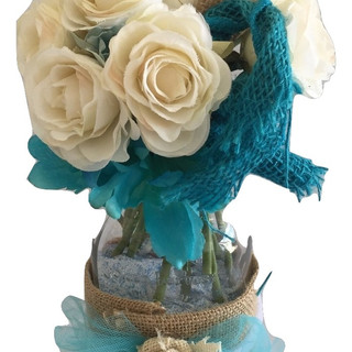 Rustic Teal, Ivory & Burlap Mason Jars with Flowers & Sand