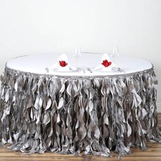 Enchanting Willow Taffeta Table Skirt Silver 14' / 17' / 21'