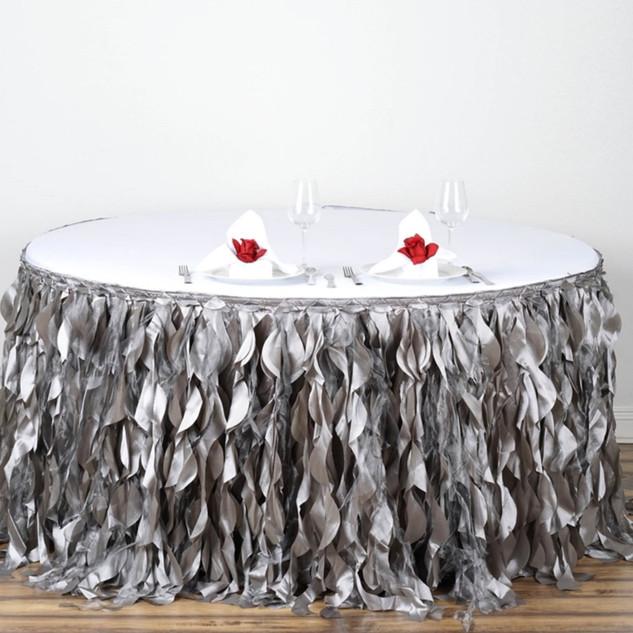 Enchanting Willow Taffeta Table Skirt Silver 17'