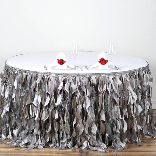 Enchanting Willow Taffeta Table Skirt Silver 14' / 17' / 21'