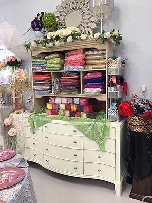 Jody's Decor showroom photo - wedding linens