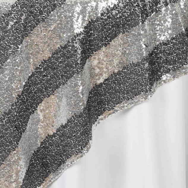 "72"" Premium Stripe Sequin Square Overlay Silver & Black"