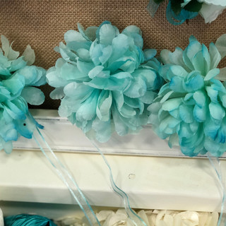 Soft Turquoise Silk Chrysanthemum on Ribbon