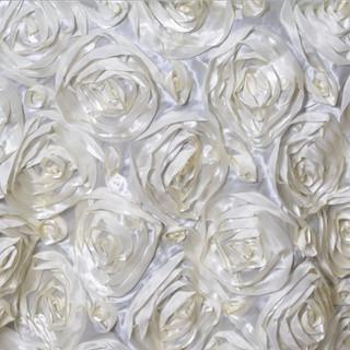 """72"""" Grandiose 3D Rosette Satin Overlay Ivory"""