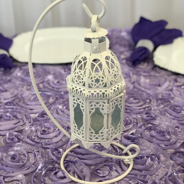 Elegant Drop Lantern & Stand Ivory