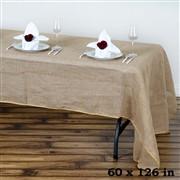 60x126 Rustic Burlap Rectangle Tablecloth