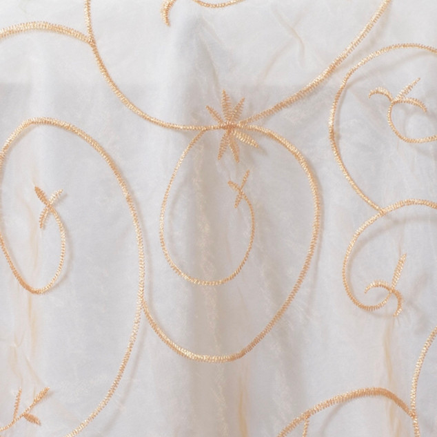 """72"""" Organza Embroidered Overlay Gold"""