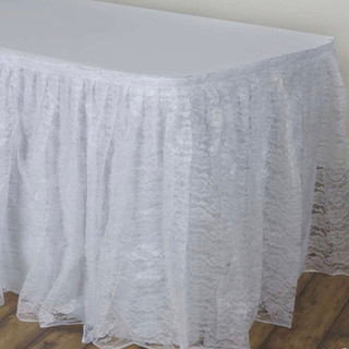 Polyester Lace Table Skirt White 17'