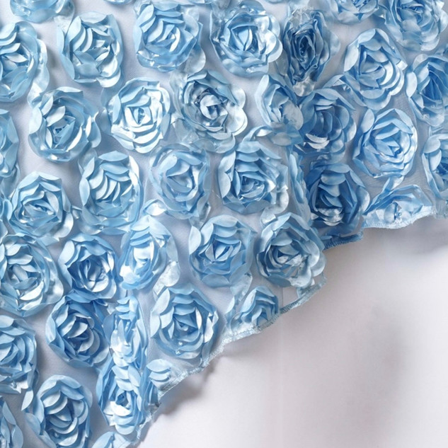 """72"""" 3D Rosette on Lace Overlay Serenity Blue"""