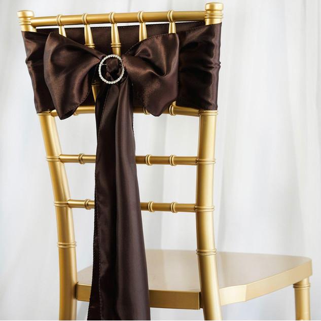 Satin Chair Sash Chocolate