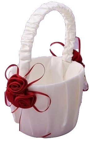 Satin Flower Girl Basket with Red Rose