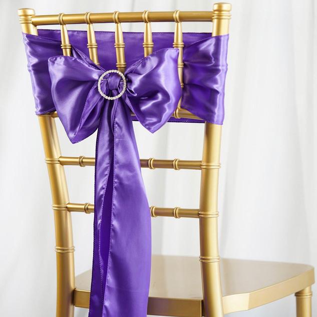 Satin Chair Sash Purple