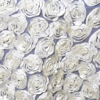 """72"""" 3D Rosette on Lace Overlay Ivory"""