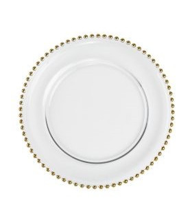 """Beaded Gold Clear Charger Plate 13"""""""
