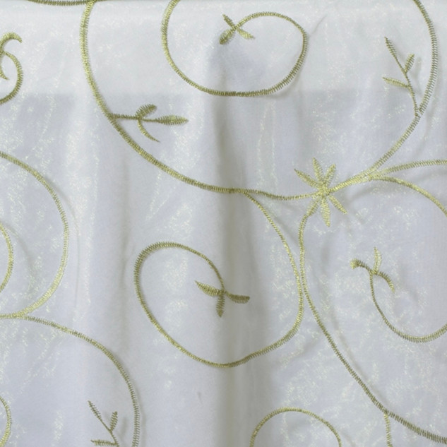 """72"""" Organza Embroidered Overlay Willow Green"""
