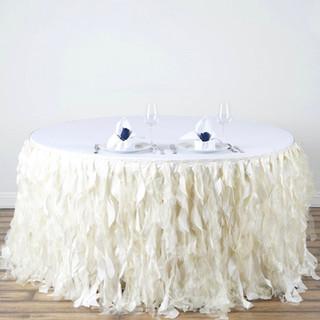 Enchanting Willow Taffeta Table Skirt Ivory 17'