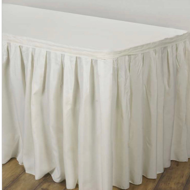 Polyester Table Skirt Ivory 17'