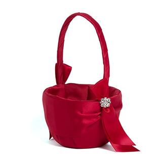 Red Satin Flower Girl Basket