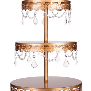 """3-Tier Cake Stand Vintage Gold 23"""" x 12"""""""