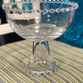 """Princess Beaded Clear Glass Candy Dish 8"""""""