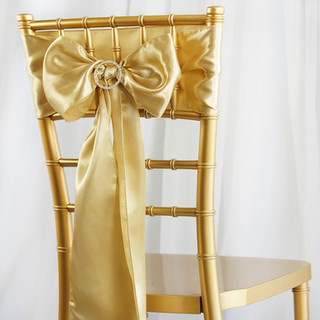 Satin Chair Sash Champagne