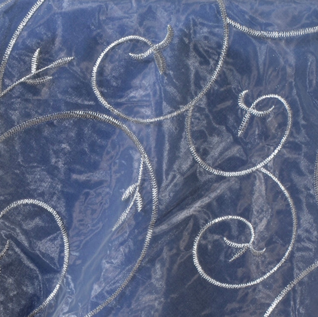 """72"""" Organza Embroidered Overlay Silver"""