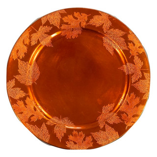 Acrylic Orange Leaf Charger Plate 13""