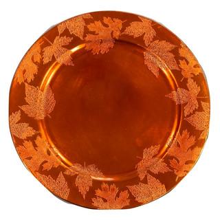 "Acrylic Orange Leaf Charger Plate 13"""