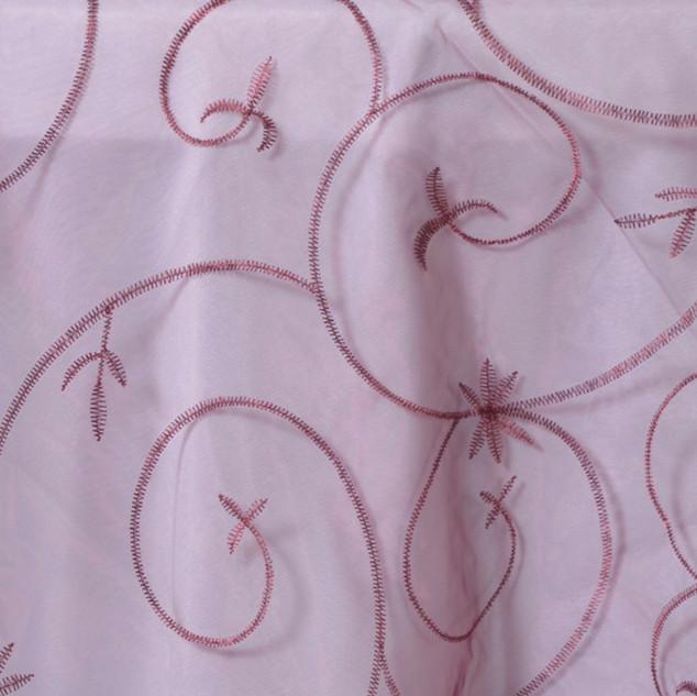 "72"" Organza Embroidered Overlay Burgundy"