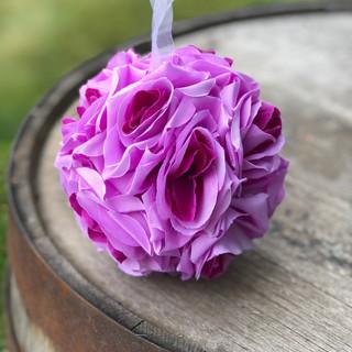 Rose Flower Kissing Ball Light Purple