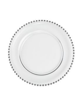 """Beaded Silver Clear Charger Plate 13"""""""